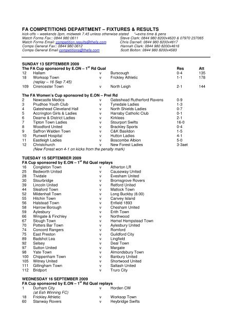 fa competitions department – fixtures & results - The Football ...
