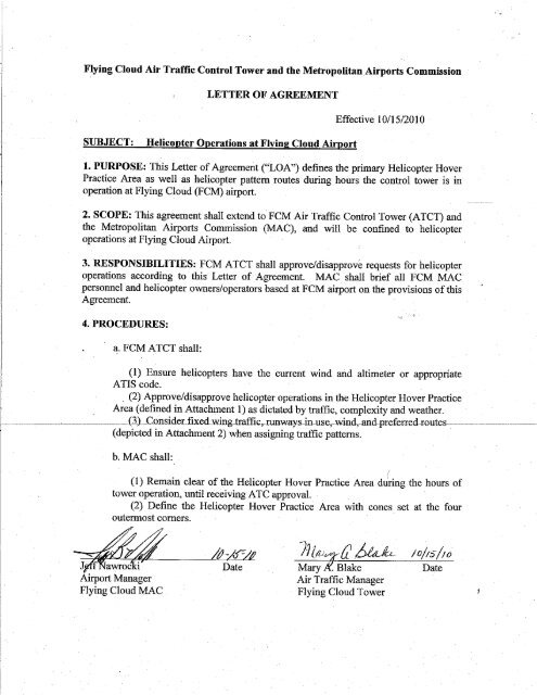 i letter of agreement - Metropolitan Airports Commission Noise ...