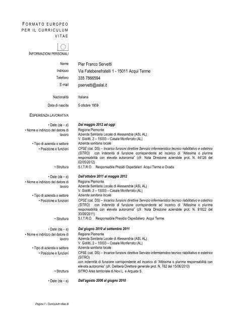 Pier Franco Servetti Via Fatebenefratelli 1 - 15011 Acqui ... - ASL AL
