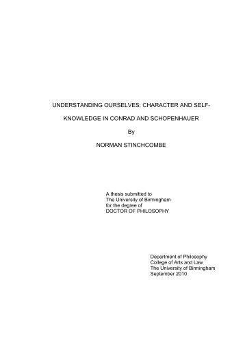 Understanding ourselves: character and self-knowledge in Conrad ...