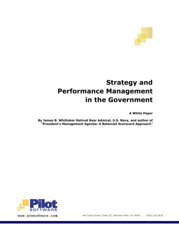 Strategy and Performance Management in the Government