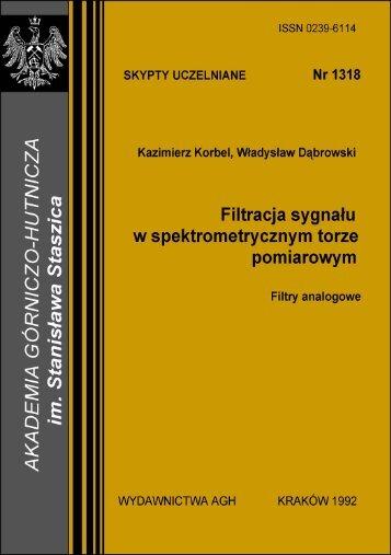 Filtracja sygnaÃ…Â'u w spektrometrycznym torze pomiarowym - AGH