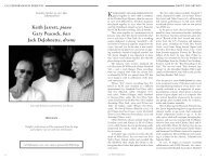 Keith Jarrett, piano Gary Peacock, bass Jack ... - Cal Performances