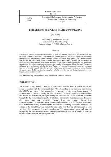 ESTUARIES OF THE POLISH BALTIC COASTAL ZONE