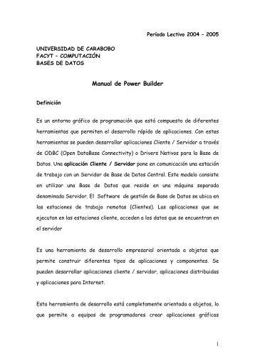 Power Builder - Universidad de Carabobo, FACYT - computacion