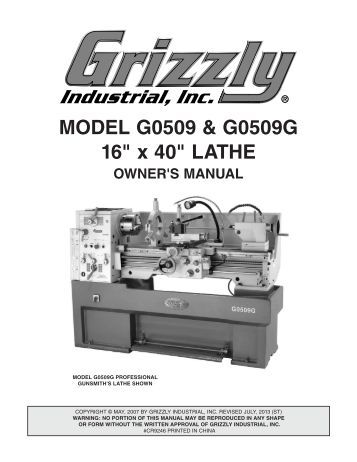 Grizzly g0516 manual