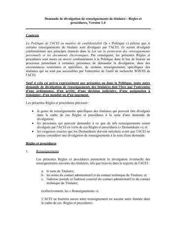 Demande de divulgation de renseignements de titulaire ... - CIRA