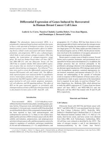 Differential Expression of Genes Induced by Resveratrol in Human ...