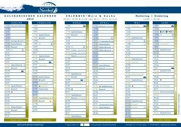 Kulinarischer Kalender 2012 - Strandhotel Seehof