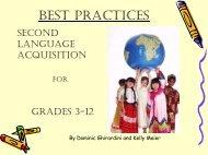 Best Practices: Second Language Acquisition