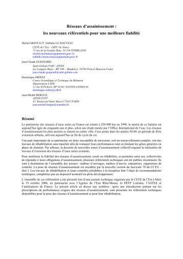 Réseaux d'assainissement : les nouveaux ... - Le CETE de l'Est