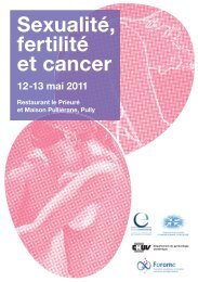 Sexualité, fertilité et cancer 12-13 mai 2011 - Cancer Lausanne