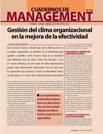 Gestión del clima organizacional en la mejora de la efectividad - Gref