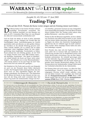 WARRANT LETTER update - Börse Inside