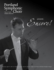 2013 Encore program - Portland Symphonic choir