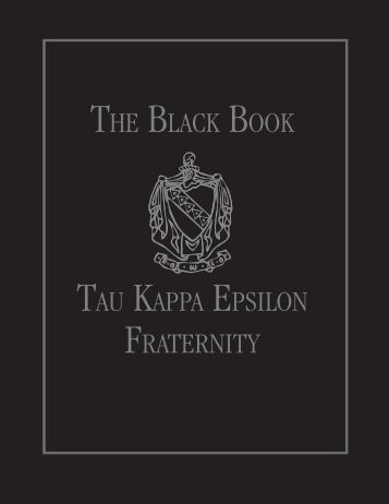 THE BLACK BOOK TAU KAPPA EPSILON FRATERNITY