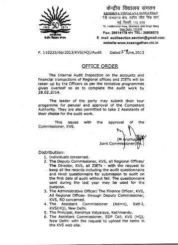 Regarding Internal Audit Inspection - Kendriya Vidyalaya Sangathan