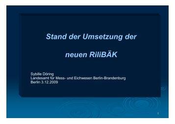 Stand Umsetzung der neuen RiLiBÄK Eichamt 20091203