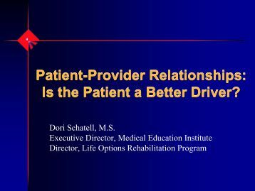 patient and provider relationships essay Of knowledge and awareness amongst patient populations and increasing demands for the variety of sources of health care available within the nhs.