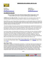 WD-Sonoma Press Release - Wayne Dalton