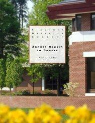 A n n u a l R e p o r t t o D o n o r s - Virginia Wesleyan College