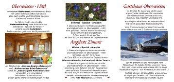 Oberweissen - Hittl Gästehaus Oberweissen Angebote Zimmer