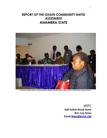 report of the ghain community rapid assesment anambra state