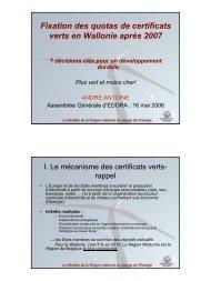 Fixation des quotas de certificats verts en Wallonie après 2007 - Edora