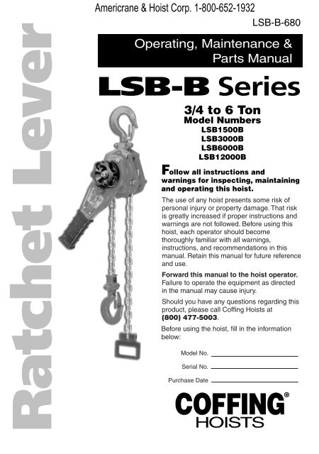 LSB-B Series - Coffing Hoists, Coffing Hoist PartsYumpu