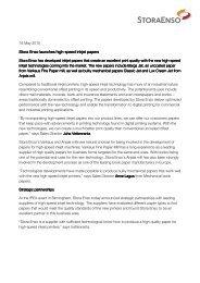 Stora Enso Press Release for high-speed inkjet