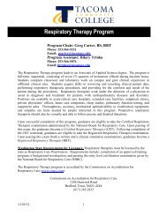 Respiratory Therapy Program - Tacoma Community College