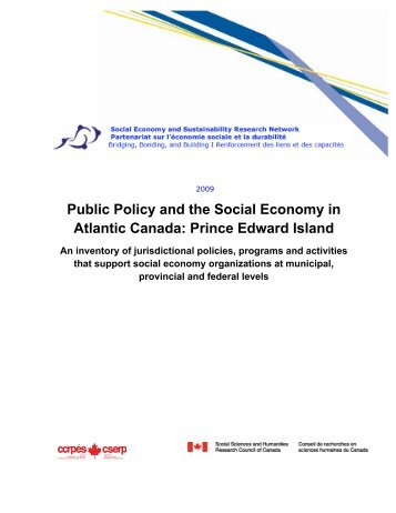 Public Policy and the Social Economy in Atlantic Canada: Prince ...