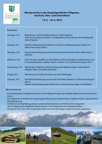 Wanderwoche in den Bergsteigerdörfern Villgraten ... - Hotel Cis