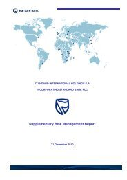 Supplementary Risk Management Report - Standard Bank