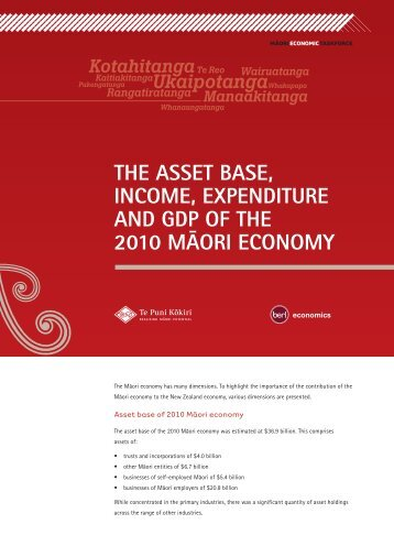 The Asset Base, Income, Expenditure and GDP of the 2010 Māori ...