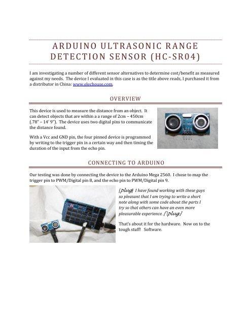 arduino ultrasonic range detection sensor (hc-sr04) - Elechouse
