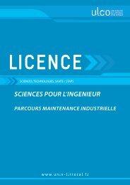 Licence Sciences pour l'ingénieur - Maintenance Industrielle
