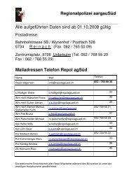 Regionalpolizei aargauSüd Alle aufgeführten Daten sind ab 01.10 ...