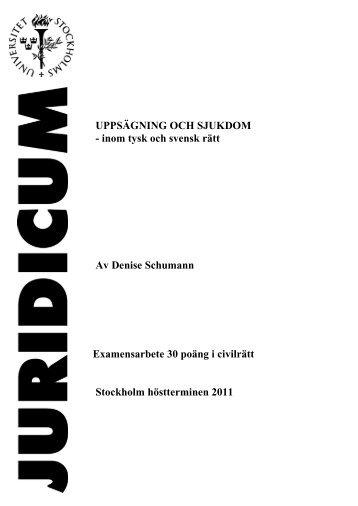 UPPSÄGNING OCH SJUKDOM - inom tysk och svensk ... - Juridicum