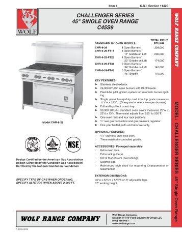 """challenger series 45"""" single oven range c45s9 - Dvorsons"""