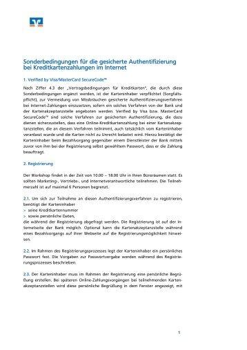 Sonderbedingungen für die gesicherte Authentifizierung bei ...