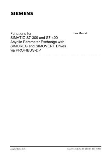 Functions for SIMATIC S7-300 and S7-400 Acyclic ... - Jonweb FA