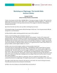 Workshop on Pilgrimage: The Kumbh Mela Session 6 Notes