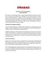 Erklärung zur Unternehmensführung gemäß § 289a ... - Strabag AG