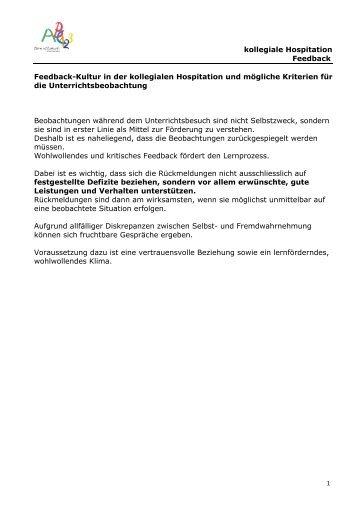 kollegiale Hospitation Feedback Feedback ... - Schule Zeiningen