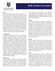 Sixth Grade Curriculum - Covenant Christian Academy