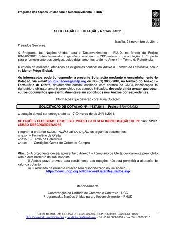 SOLICITAÇÃO DE COTAÇÃO - N.º 14637/2011 Brasília, 21 ... - Pnud