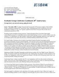 Ecobank Group Celebrates Landmark 20th Anniversary