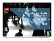 Biometrics and Identity Assurance Dr. Colin Soutar Dr. Colin Soutar ...
