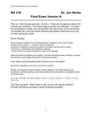 BA 210 Dr. Jon Burke Final Exam Version A - Meet the Faculty